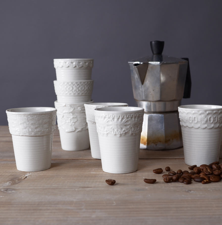 Espresso cups with lace, 7 different models