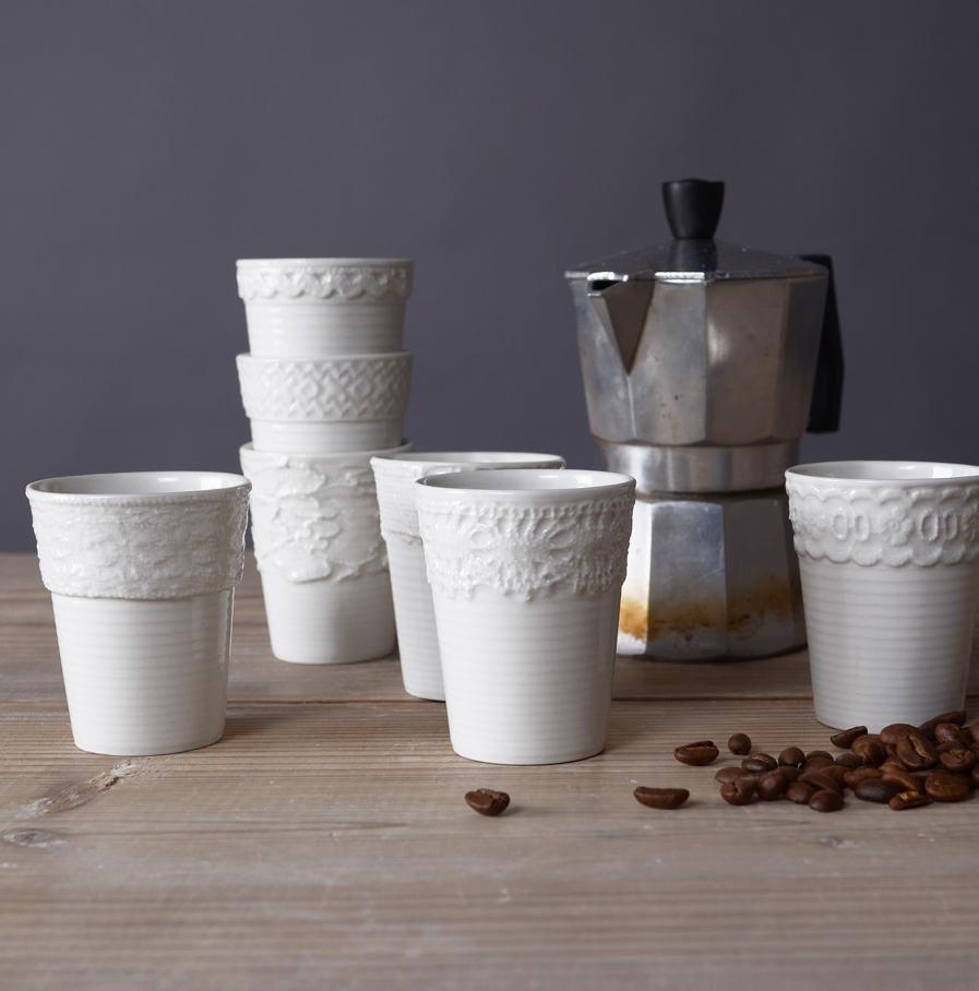 Espresso kopjes met kanten randjes in diverse varianten