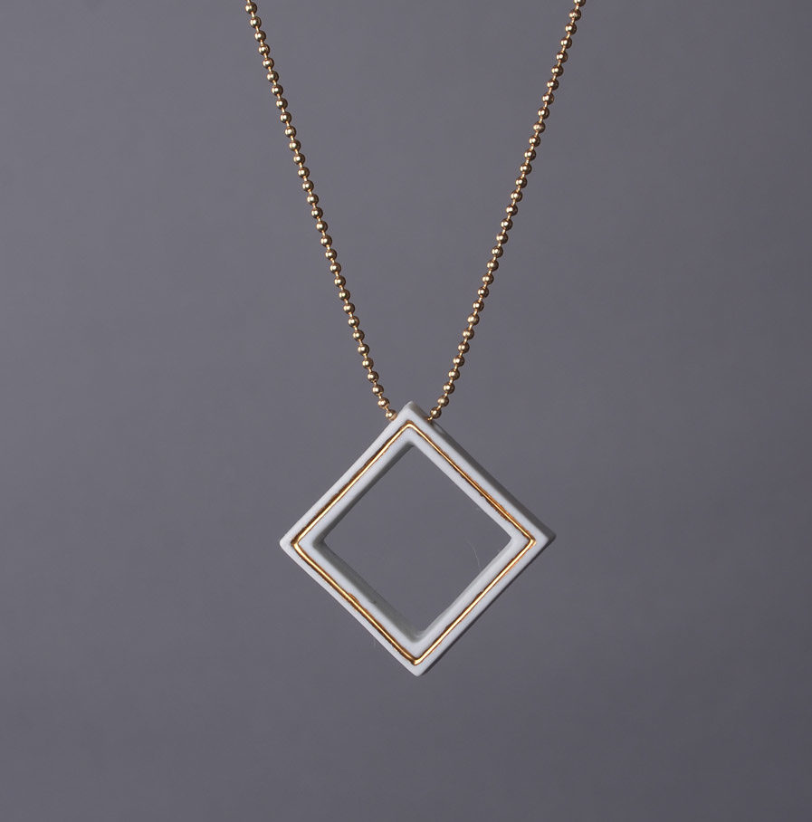 Geometrics Square necklace white with golden ball chain necklace