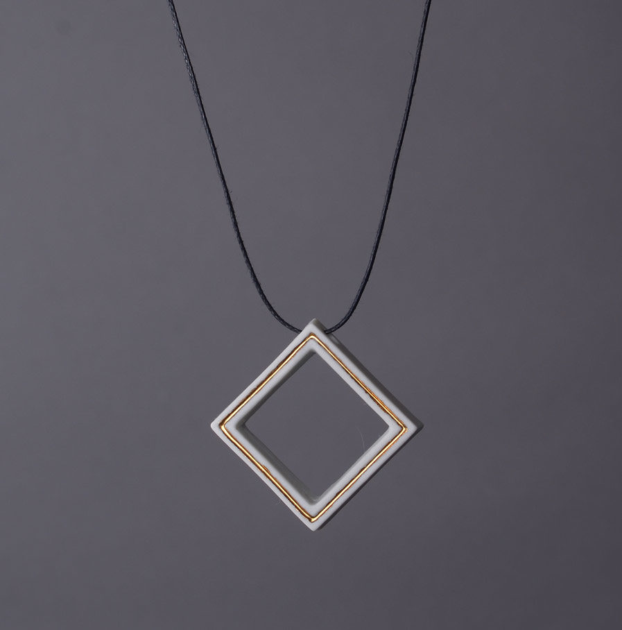 Geometrics Square necklace white with wax cord