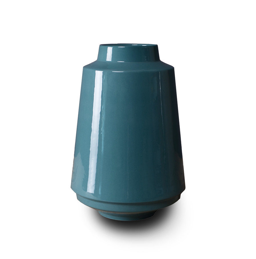 High Edged vase turquoise, porcelain