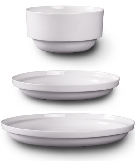 Edge Plates, white porcelain