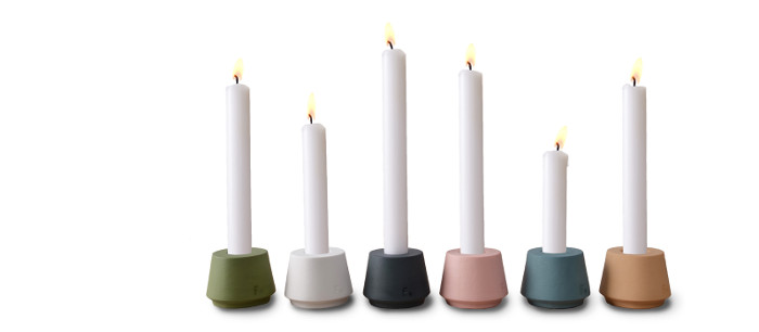 Candle holders made of colored porcelain