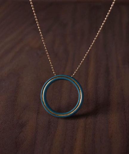 Geometrics ketting Circle turkoois