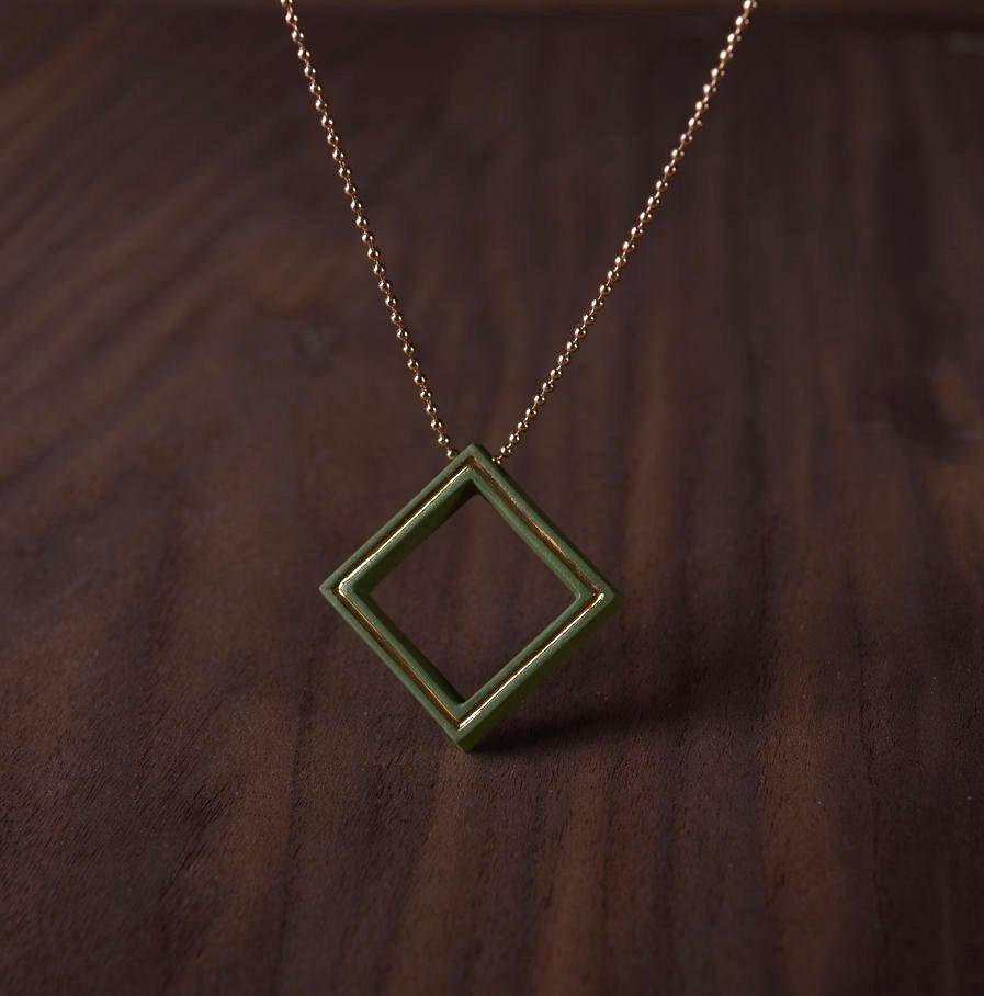 Geometrics ketting Square groen