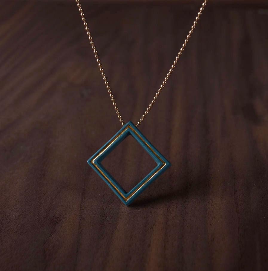 Geometrics ketting Square turkoois