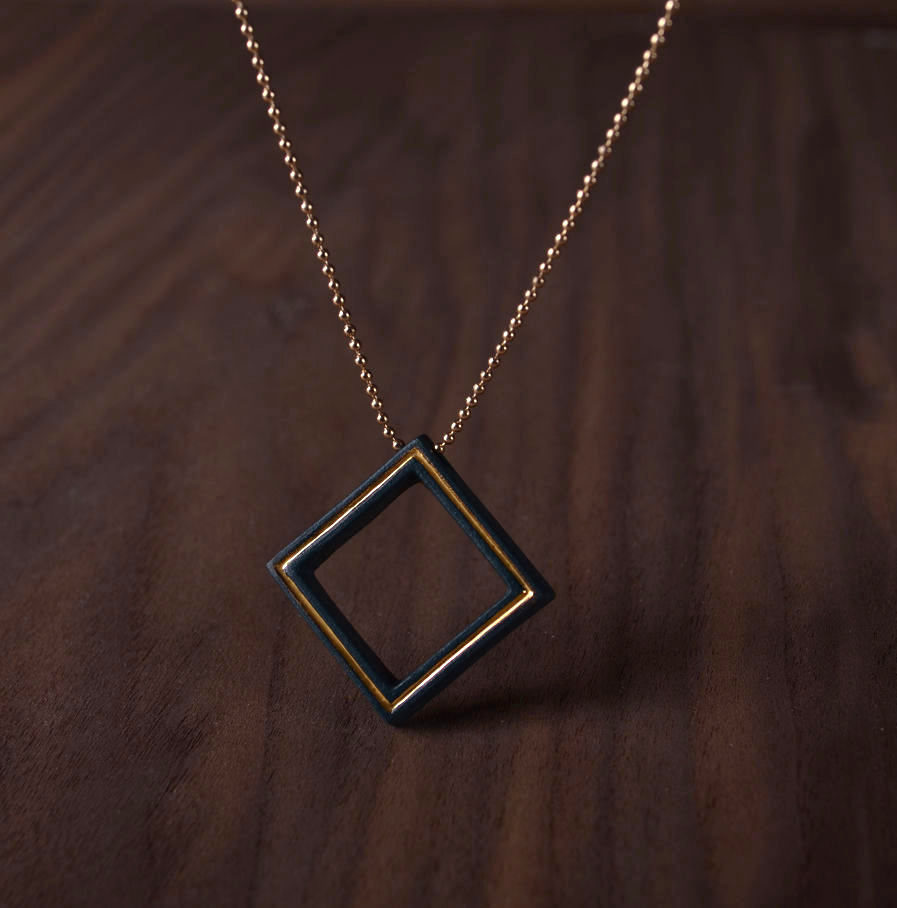 Geometrics ketting Square zwart