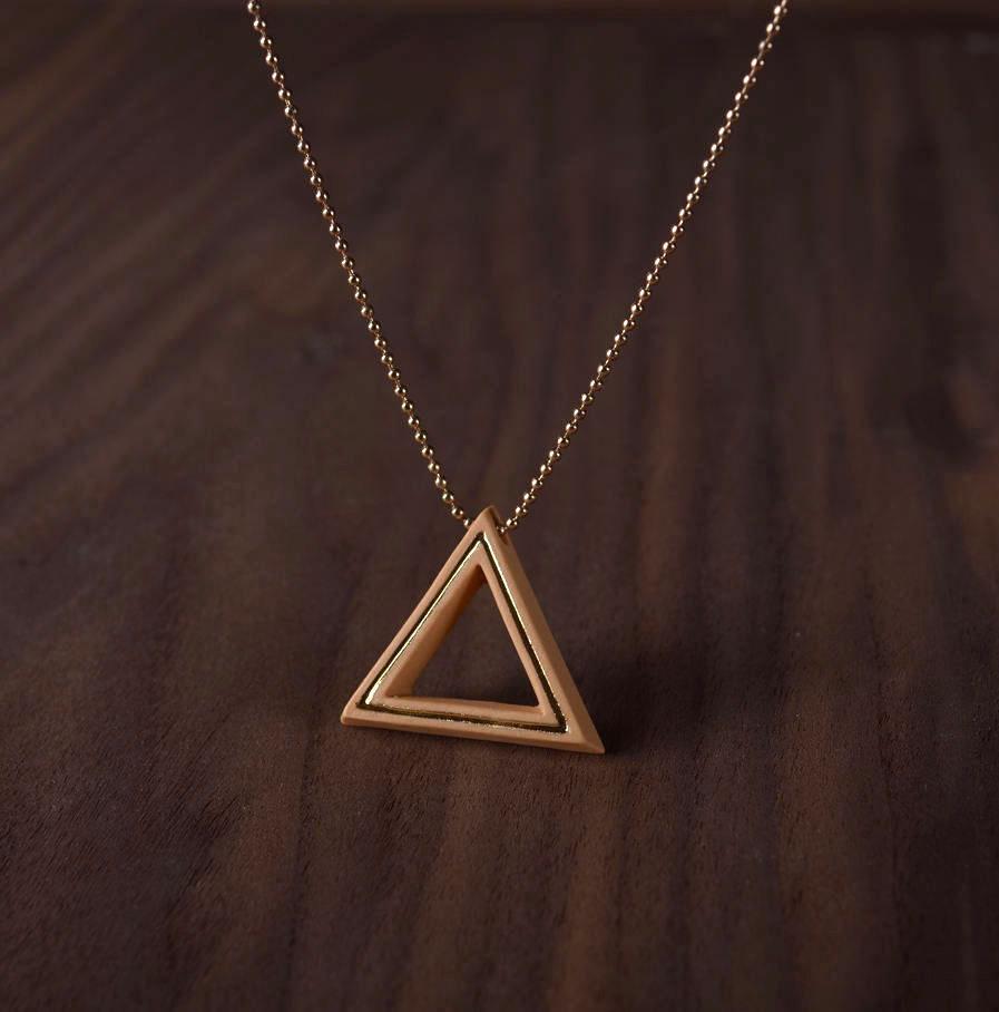 Geometrics ketting Triangle oker