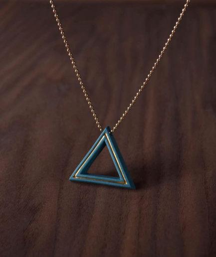Geometrics ketting Triangle turkoois